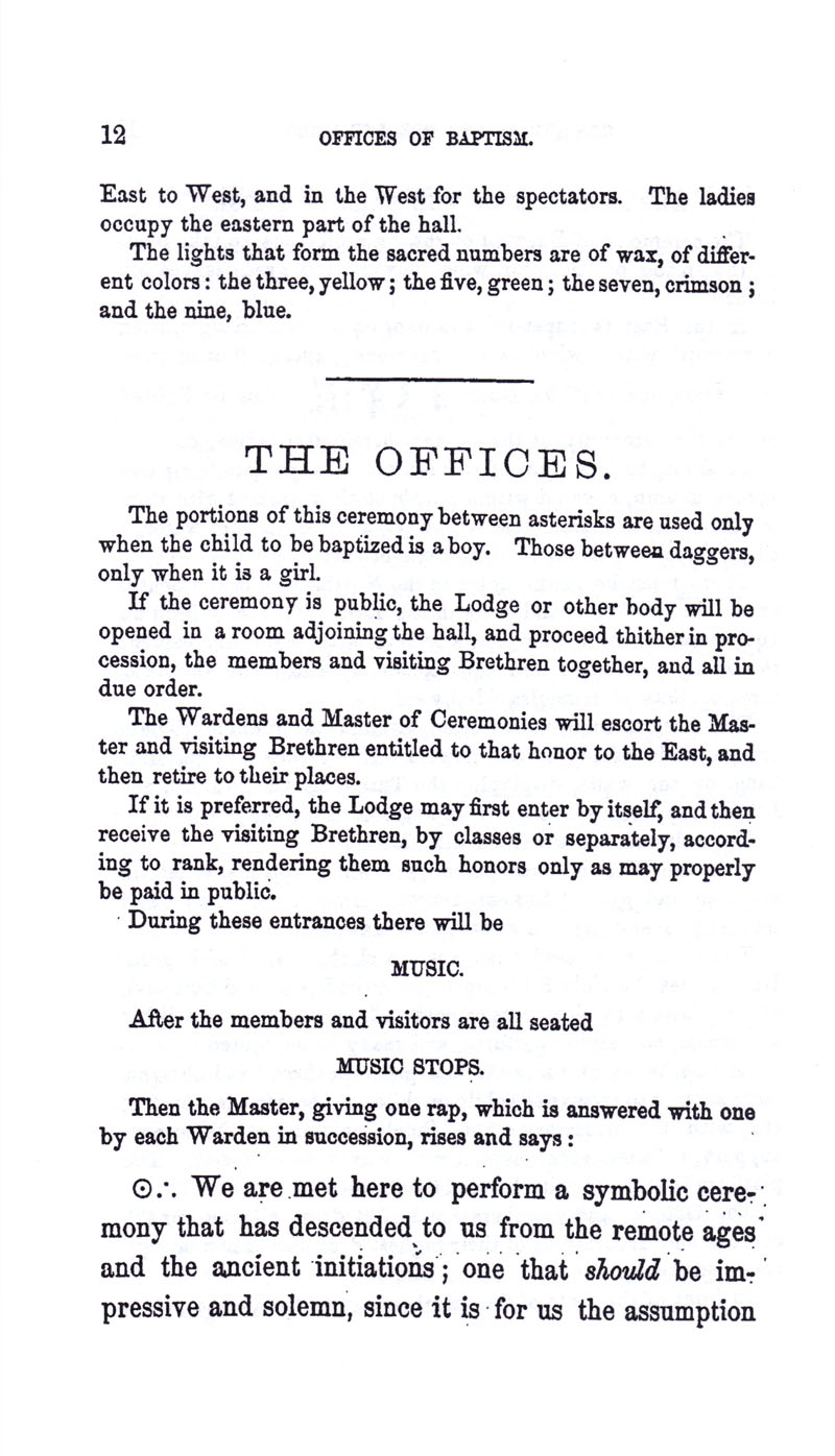 Masonic Baptism of Children by Albert Pike Part I page 12