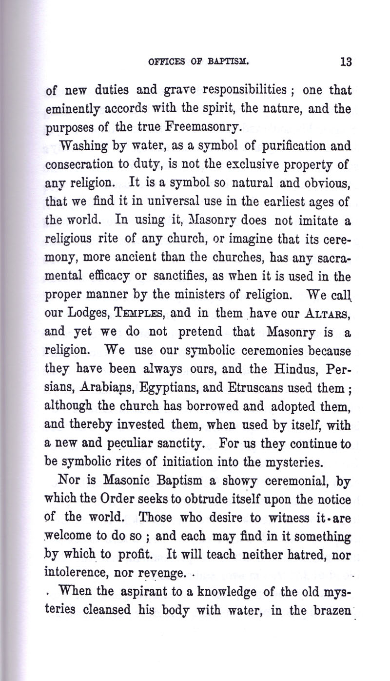 Masonic Baptism of Children by Albert Pike Part I page 13
