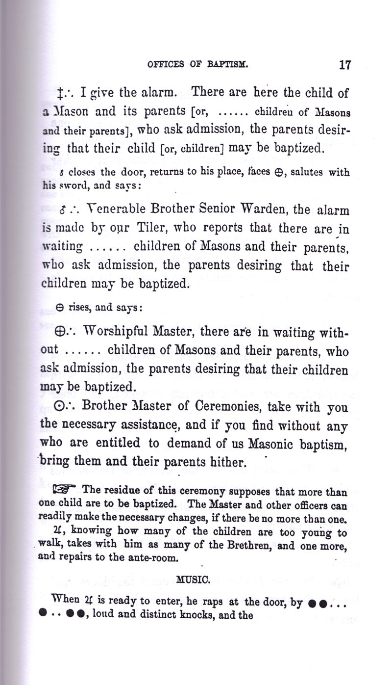 Masonic Baptism of Children by Albert Pike Part I page 17