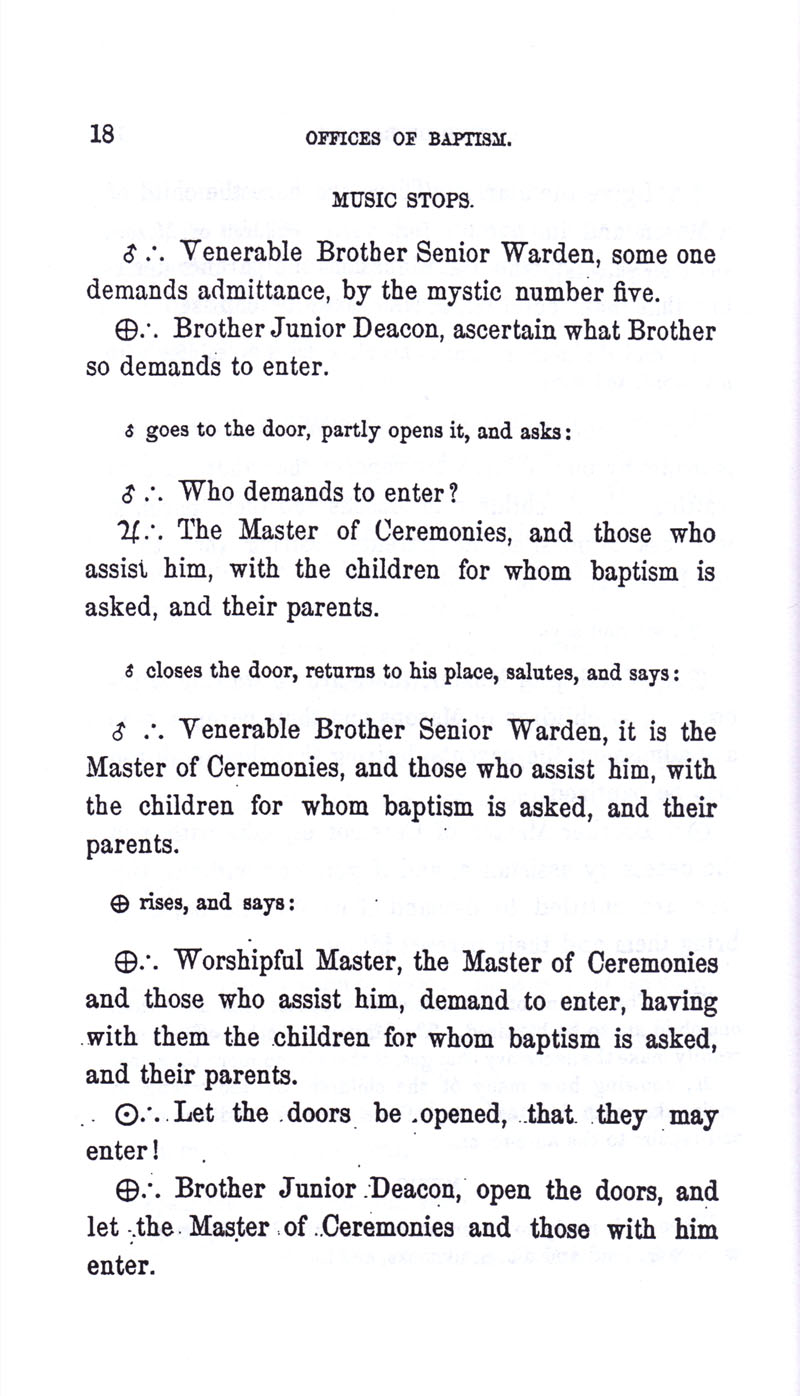 Masonic Baptism of Children by Albert Pike Part I page 18