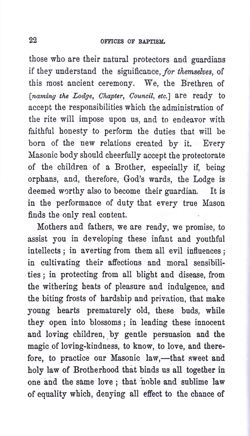 Masonic Baptism of Children by Albert Pike Part I page 22
