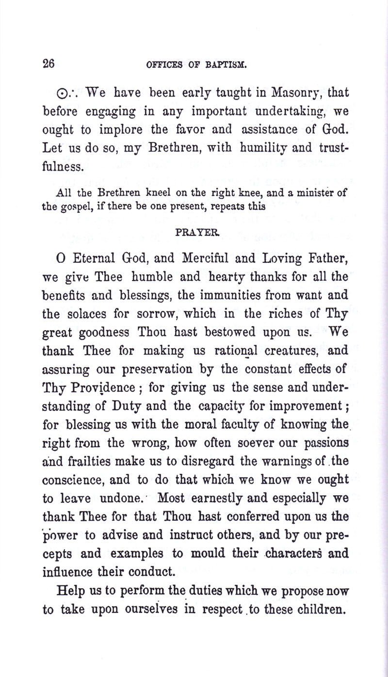 Masonic Baptism of Children by Albert Pike Part I page 26