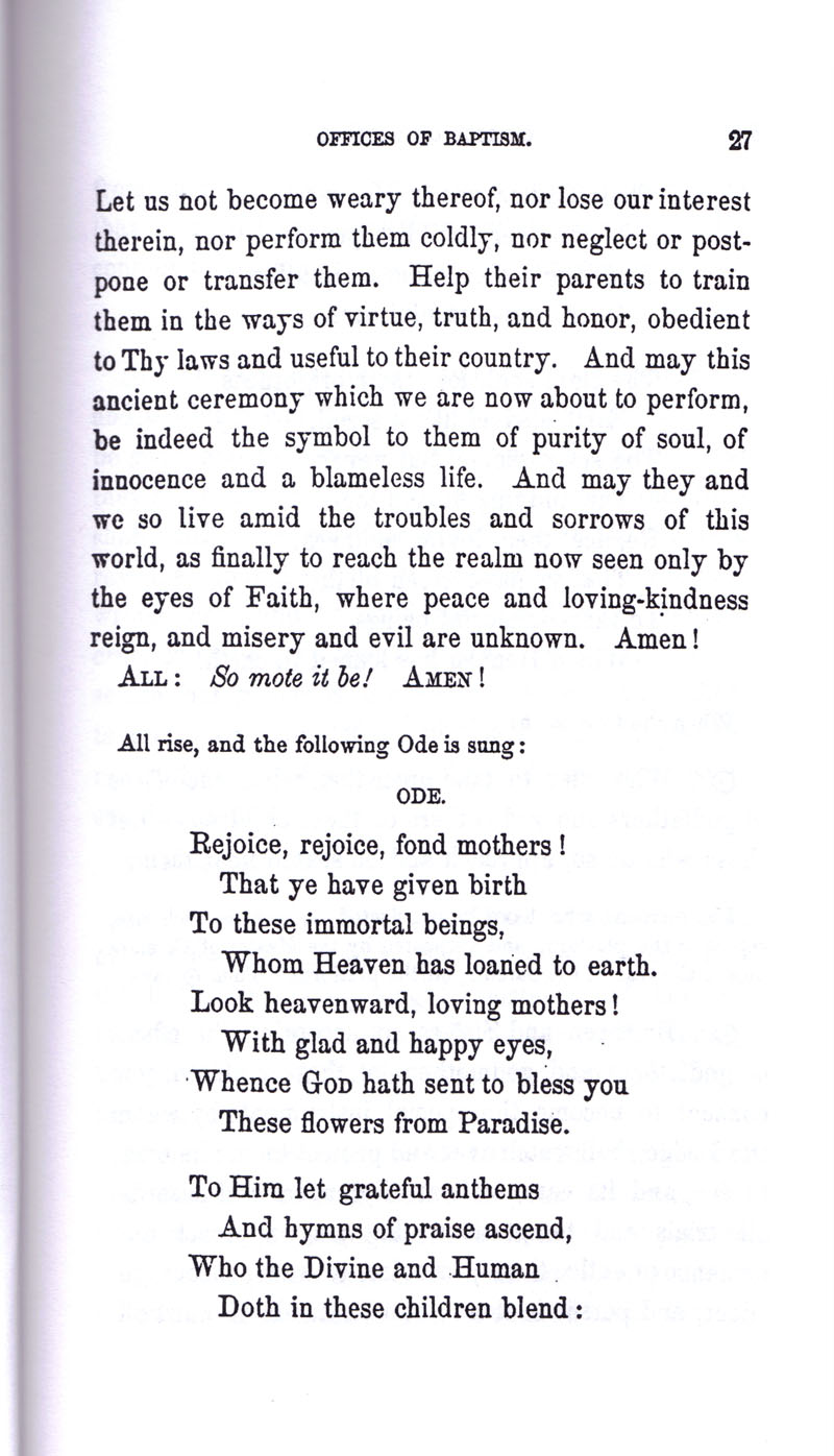 Masonic Baptism of Children by Albert Pike Part I page 27