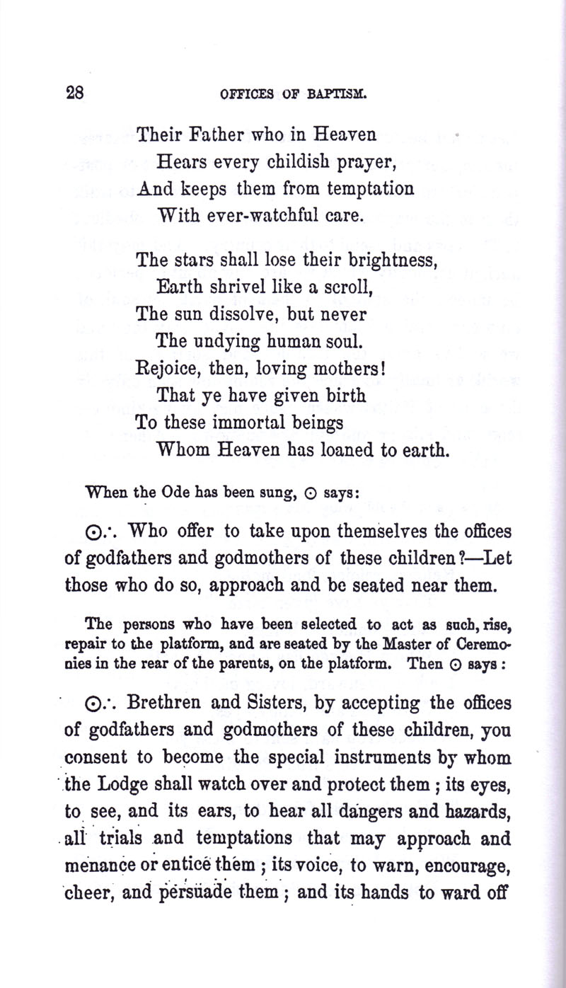 Masonic Baptism of Children by Albert Pike Part I page 28