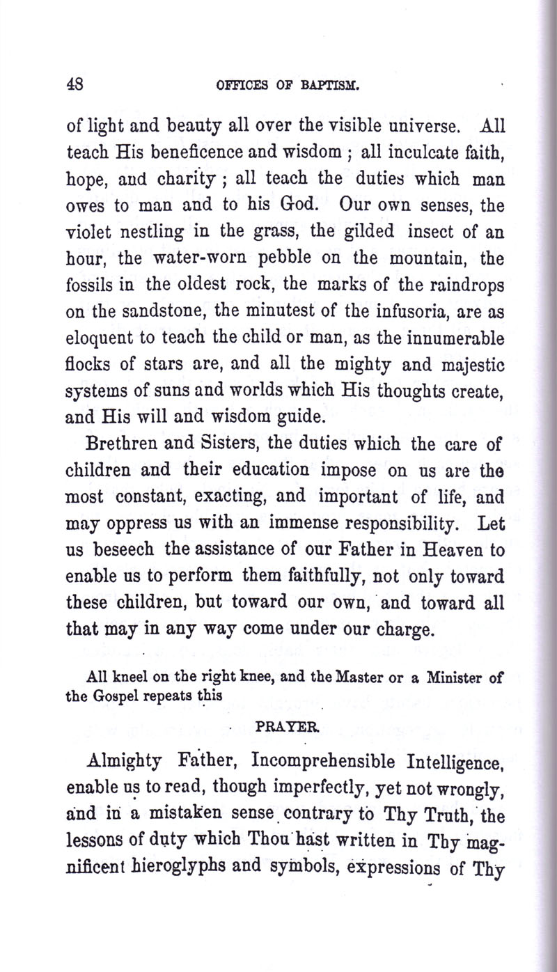 Masonic Baptism of Children by Albert Pike Part I page 48