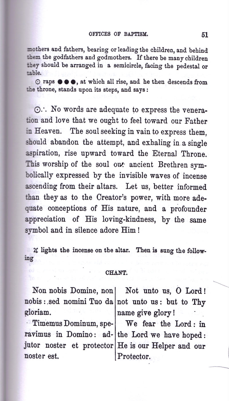 Masonic Baptism of Children by Albert Pike Part I page 51