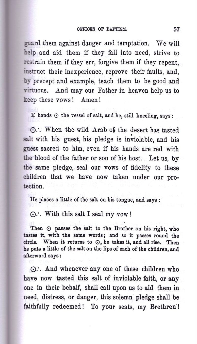 Masonic Baptism of Children by Albert Pike Part I page 57
