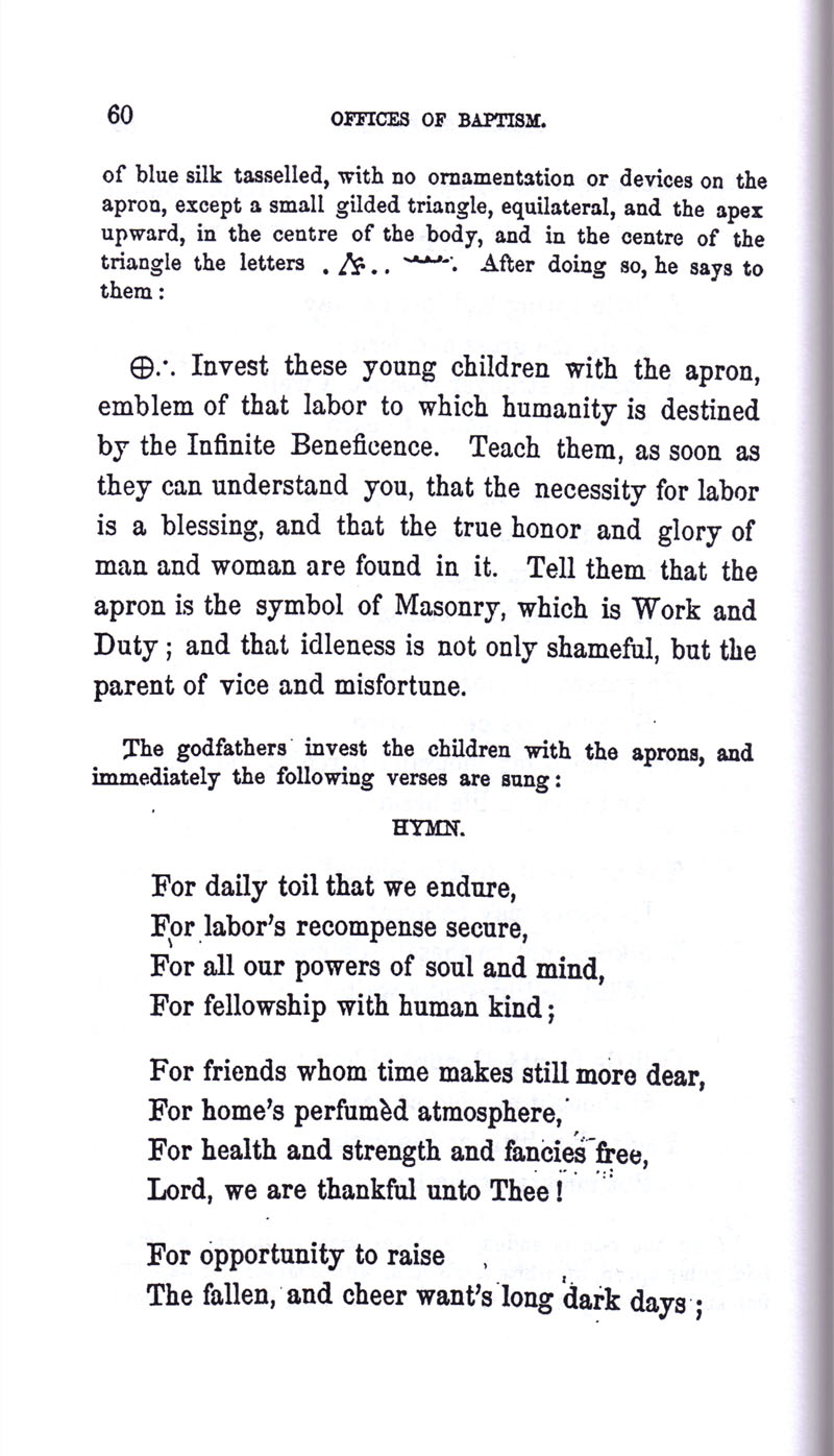 Masonic Baptism of Children by Albert Pike Part I page 60