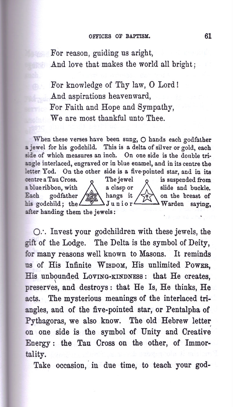 Masonic Baptism of Children by Albert Pike Part I page 61