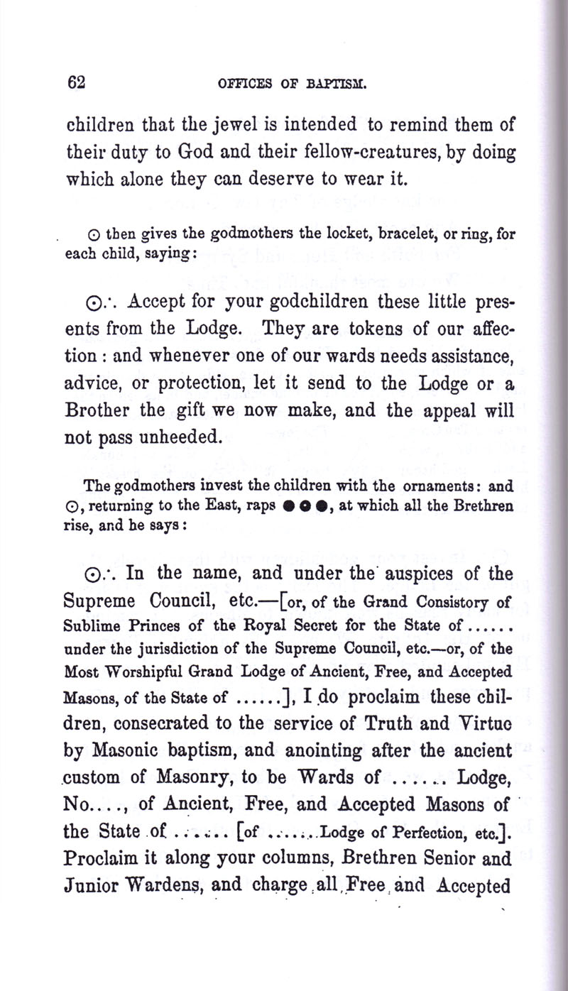 Masonic Baptism of Children by Albert Pike Part I page 62