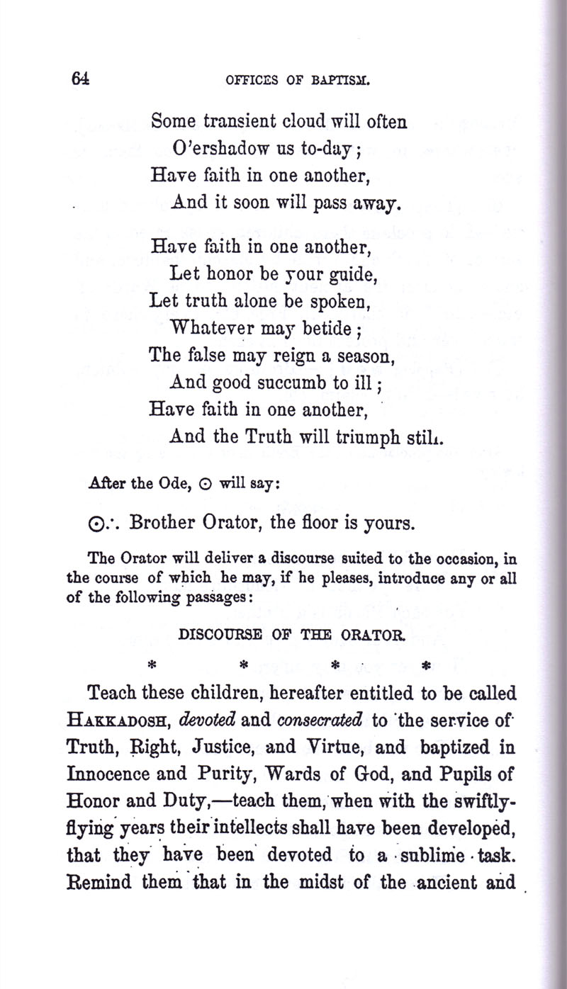 Masonic Baptism of Children by Albert Pike Part I page 64