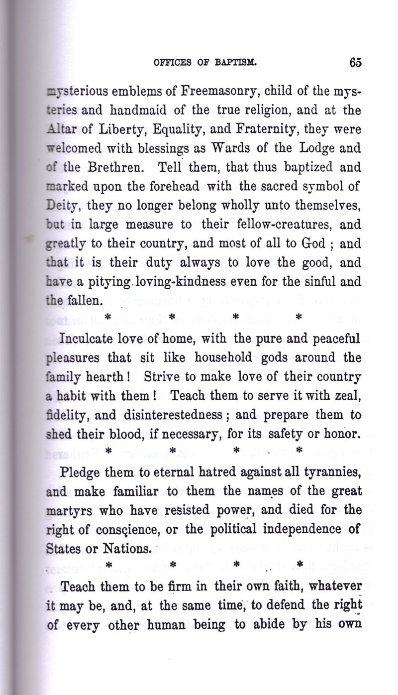 Masonic Baptism of Children by Albert Pike Part I page 65