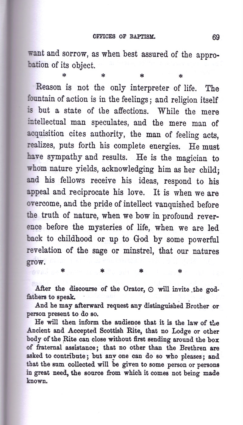 Masonic Baptism of Children by Albert Pike Part I page 69