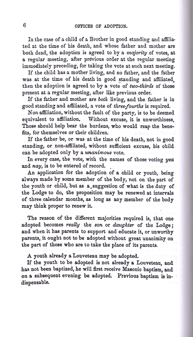 Masonic Baptism of Children by Albert Pike Part III page 6