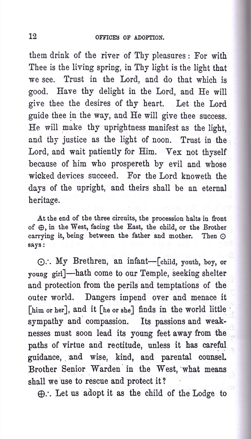 Masonic Baptism of Children by Albert Pike Part III page 12