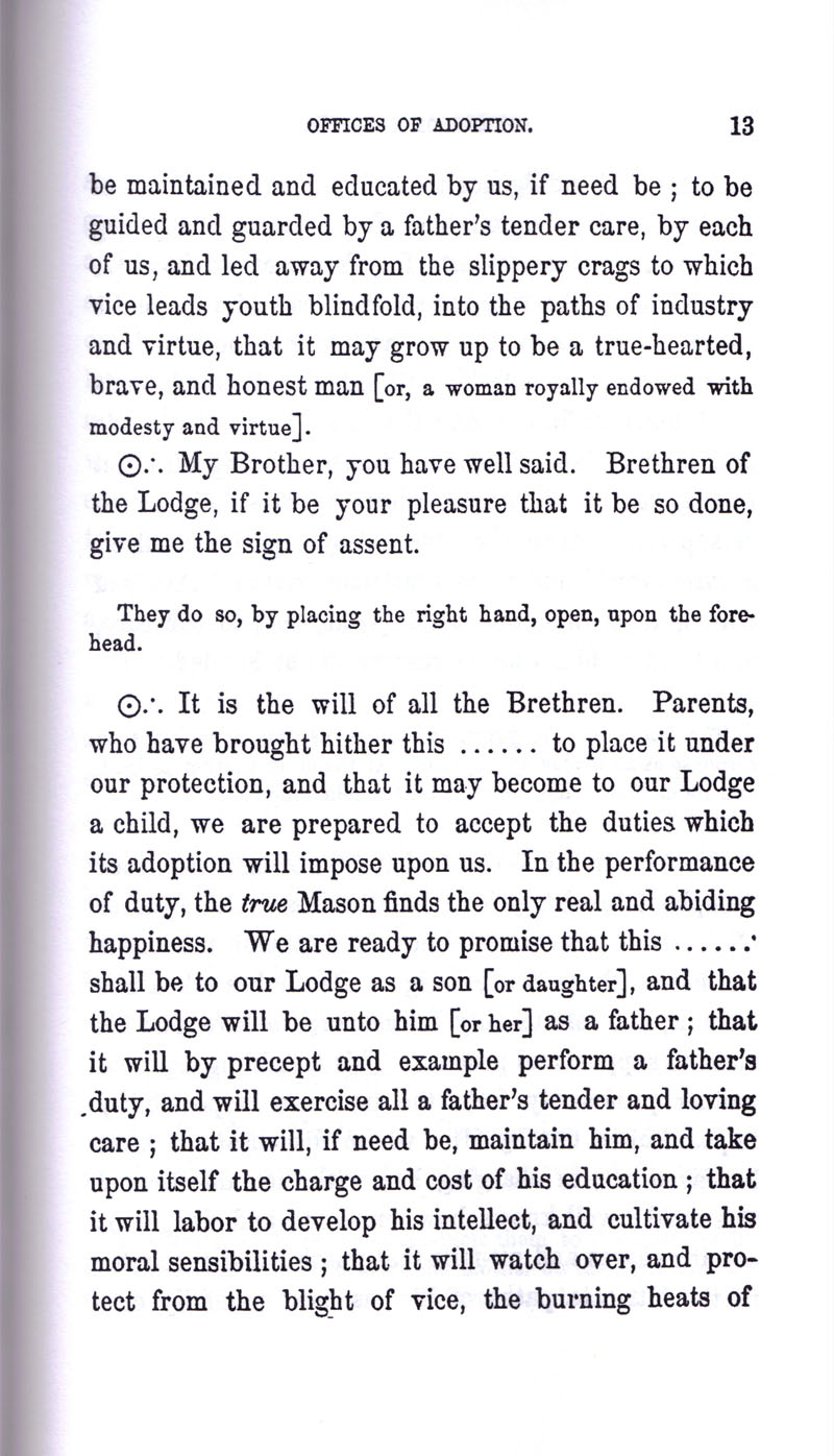 Masonic Baptism of Children by Albert Pike Part III page 13
