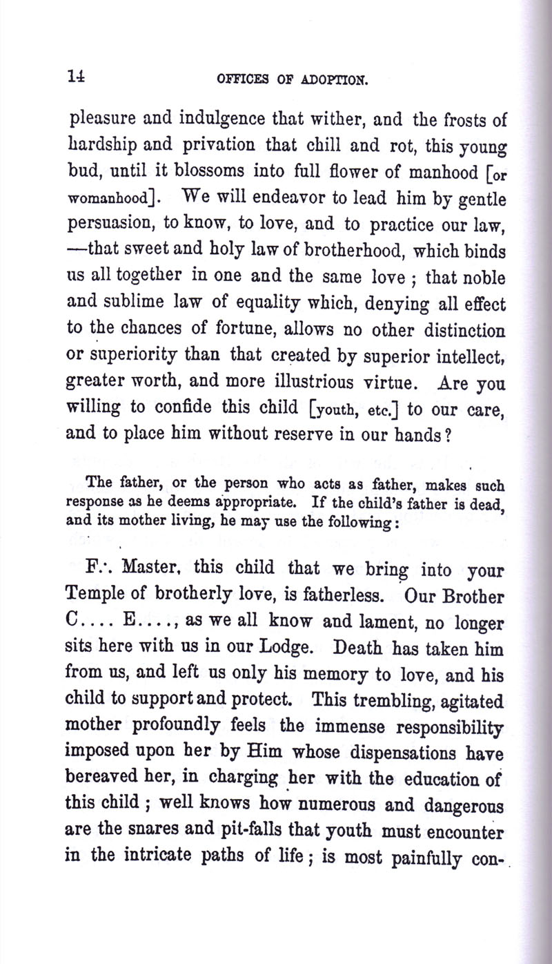 Masonic Baptism of Children by Albert Pike Part III page 14
