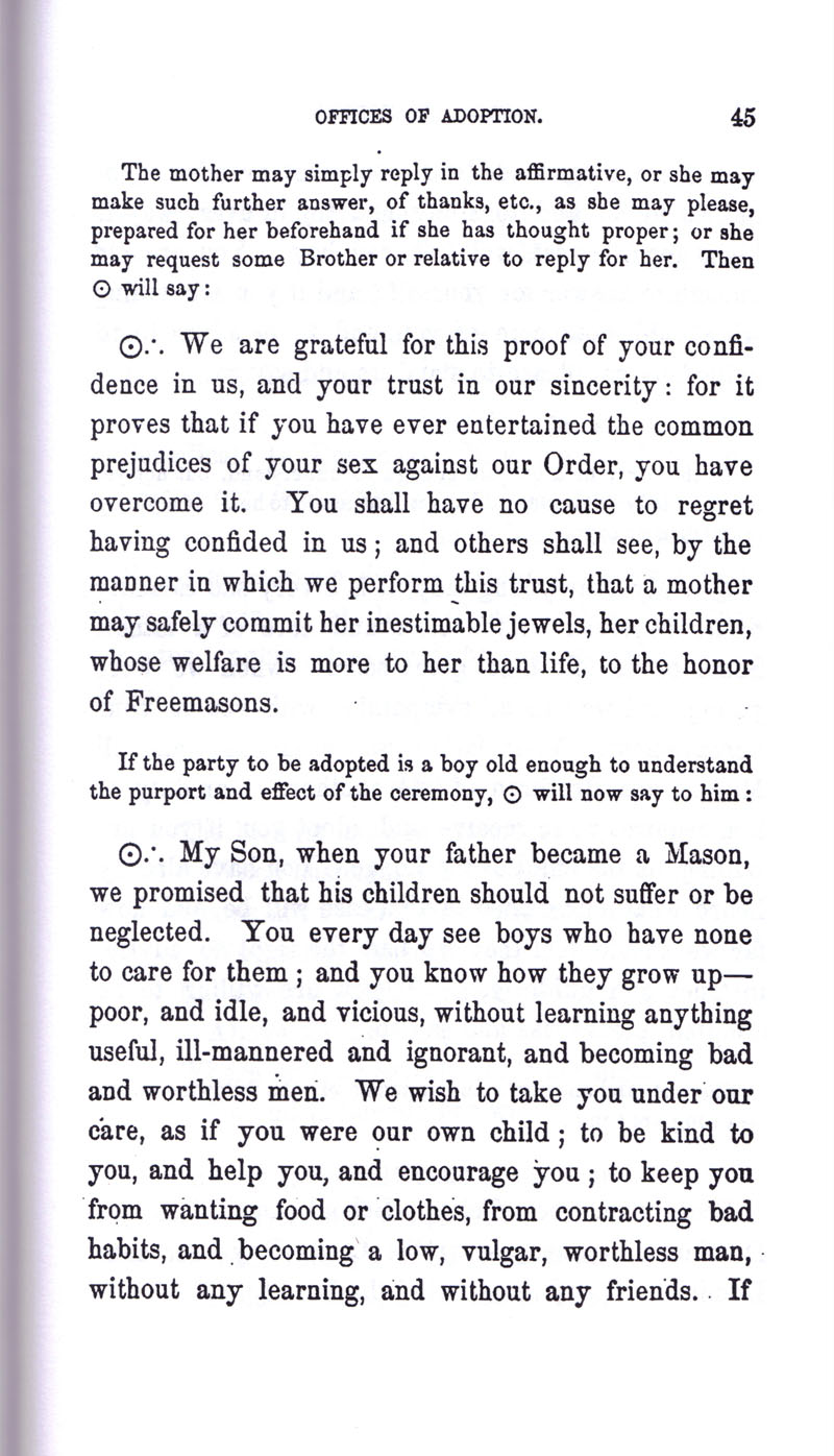 Masonic Baptism of Children by Albert Pike Part III page 45