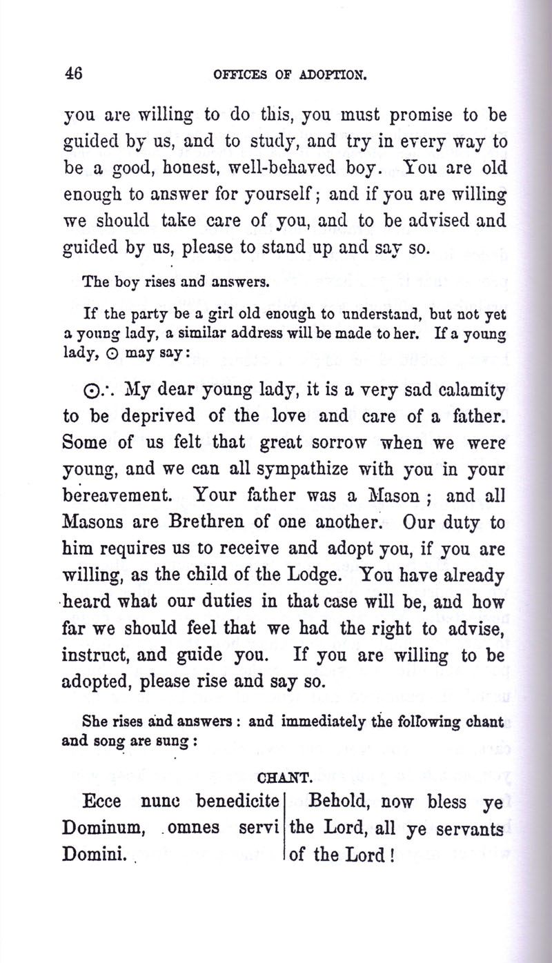 Masonic Baptism of Children by Albert Pike Part III page 46