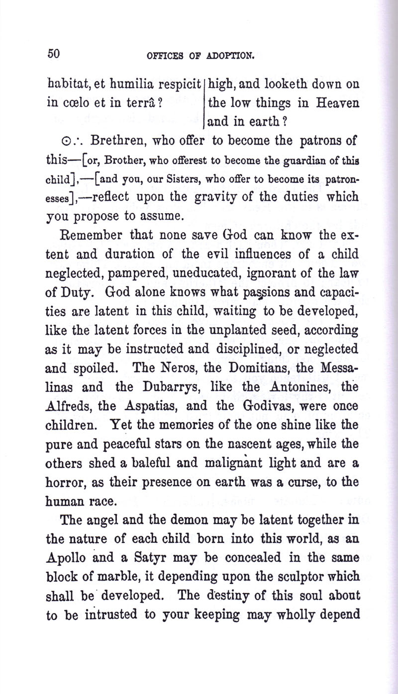 Masonic Baptism of Children by Albert Pike Part III page 50