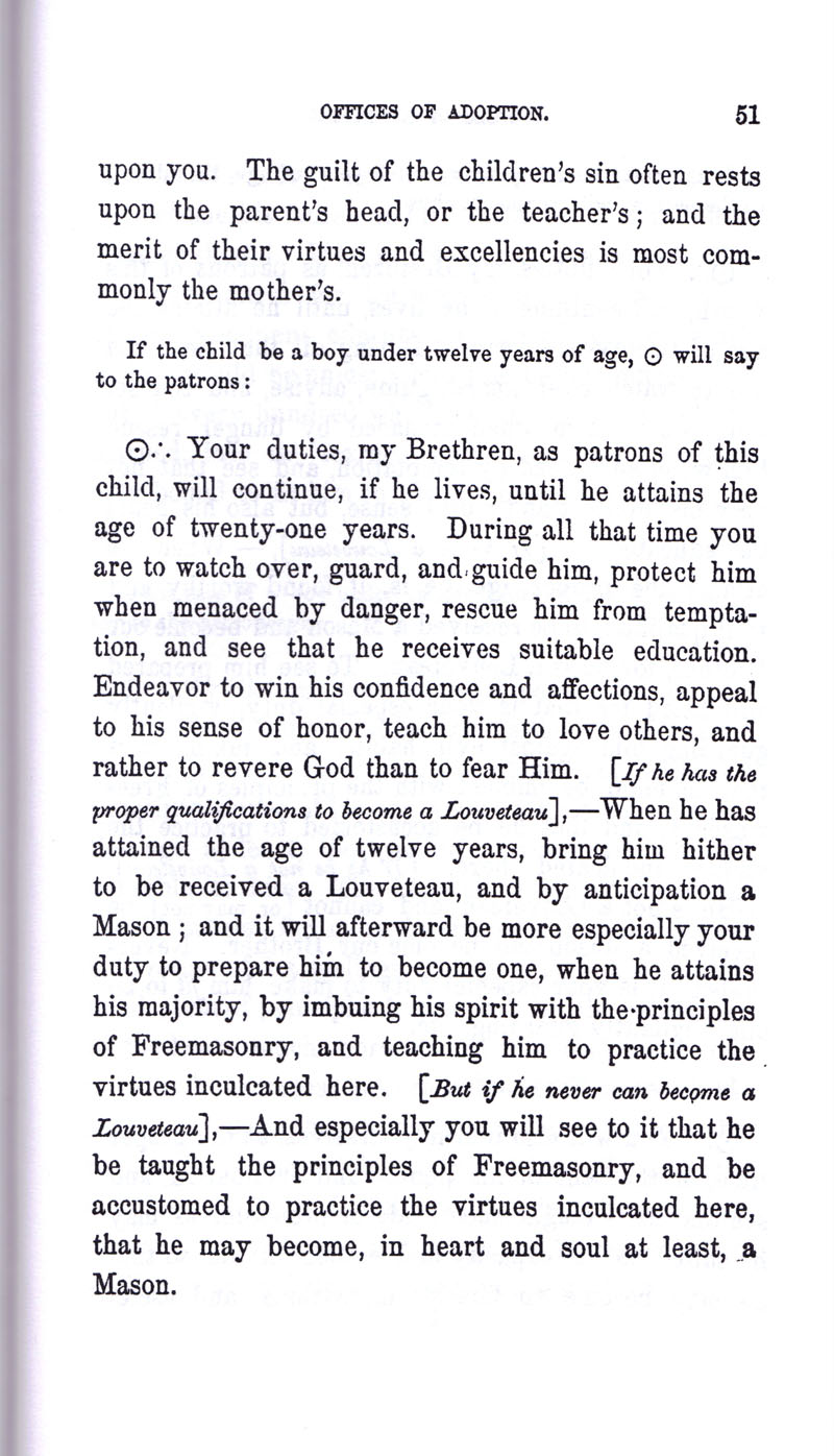 Masonic Baptism of Children by Albert Pike Part III page 51
