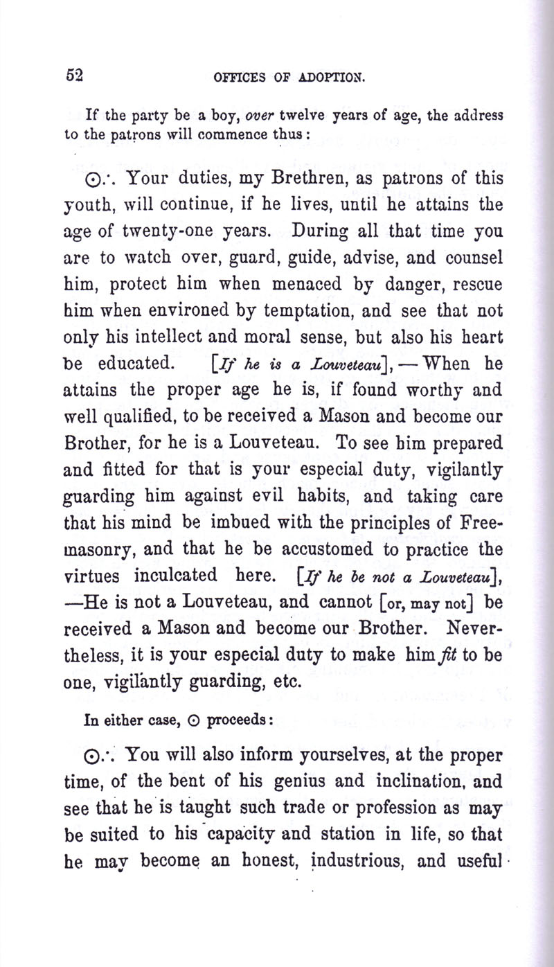 Masonic Baptism of Children by Albert Pike Part III page 52