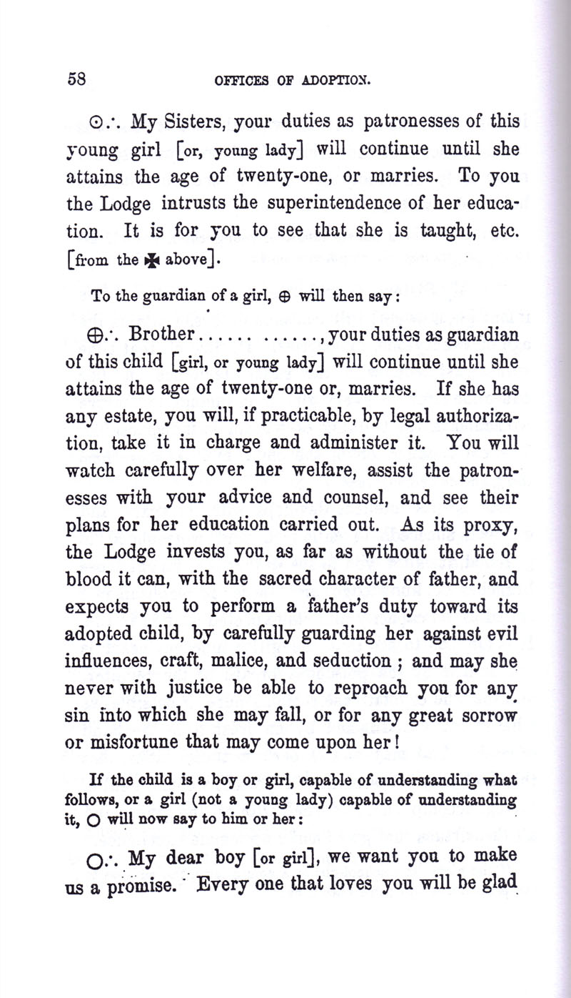 Masonic Baptism of Children by Albert Pike Part III page 58