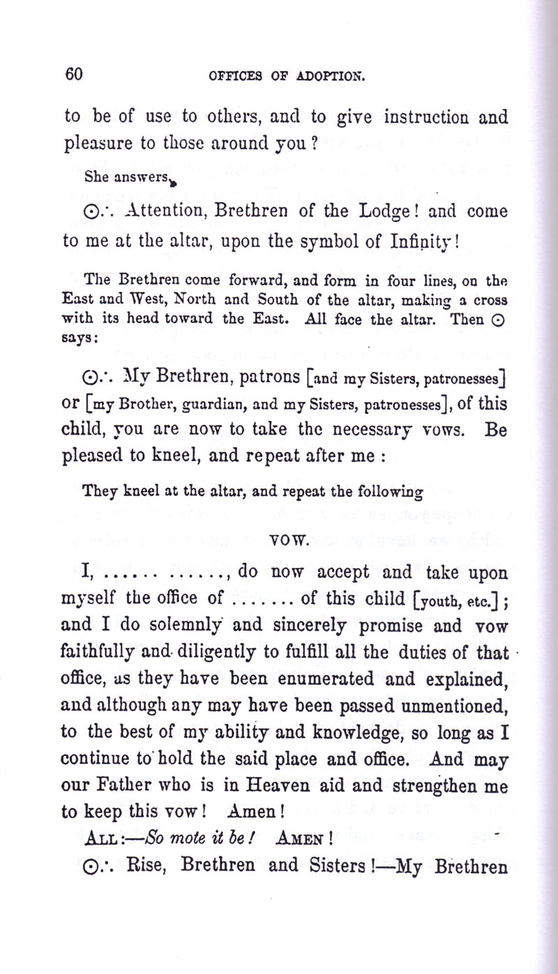 Masonic Baptism of Children by Albert Pike Part III page 60