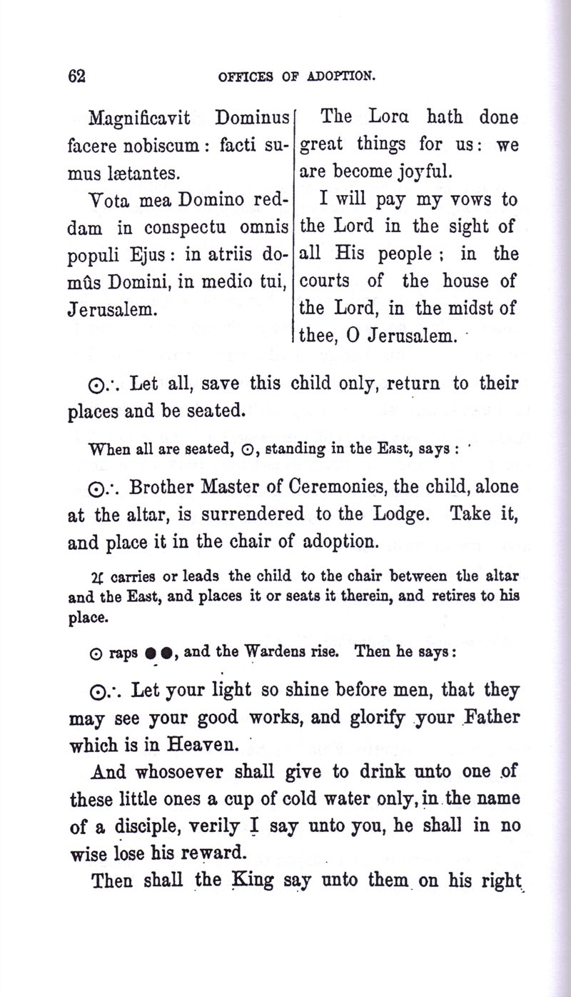 Masonic Baptism of Children by Albert Pike Part III page 62