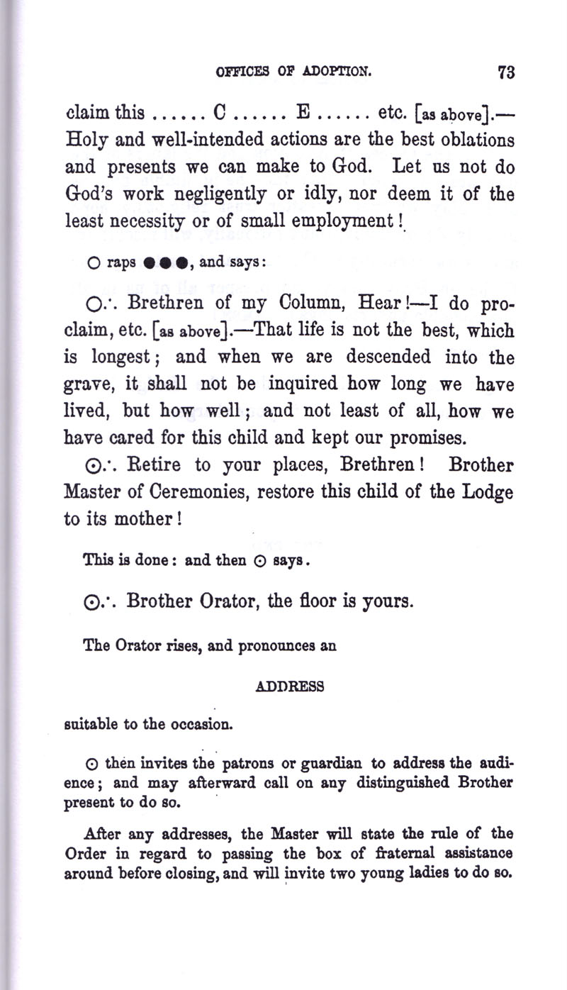 Masonic Baptism of Children by Albert Pike Part III page 73