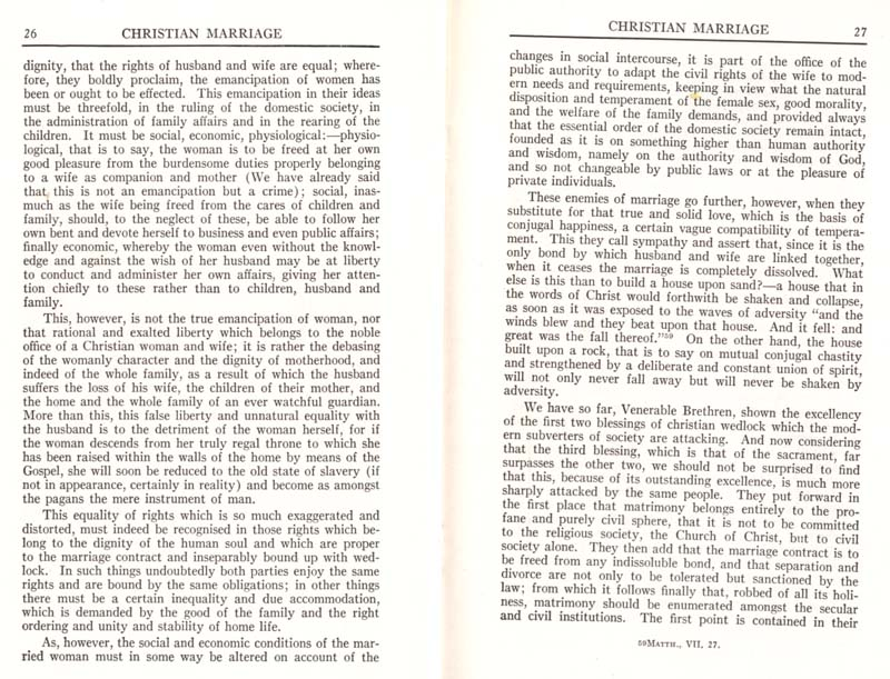 Pius XI Encyclical Christian Marriage page 15