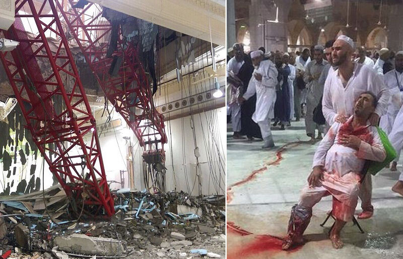 Fear in the eyes of Muslims as the roof crashes in, killing and injuring hundreds