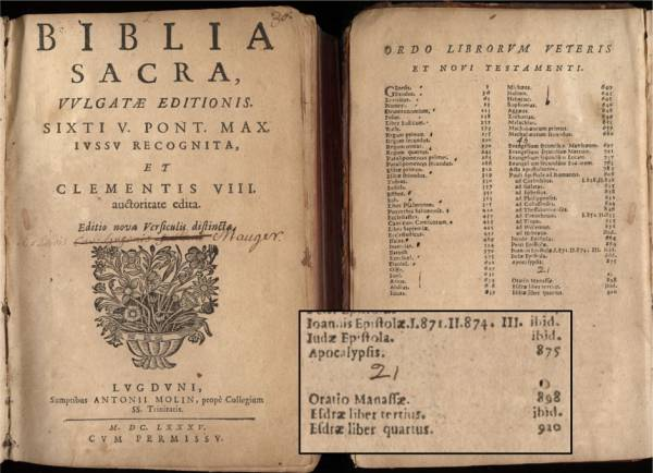 The deleted end of the bible exists in the 1685 Latin Vulgate