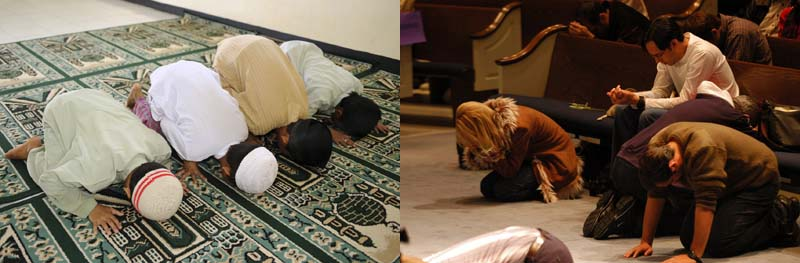 Heretical Muslims and Christians bow down to Satan