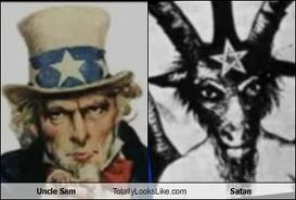 Uncle Sam's face resembles the face of Baphomet, the god of George Washington and many founding fathers of America's government.