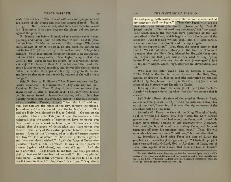Pages 99-100 of Volume I of the Babylonian Talmud