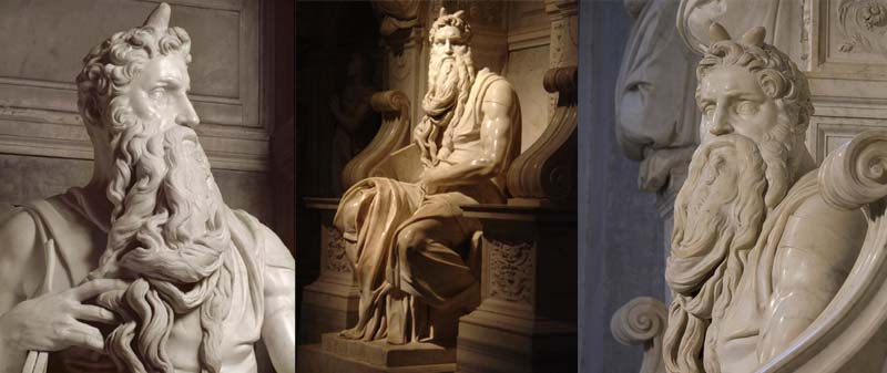 Moses sculpted by Michelangelo with horns