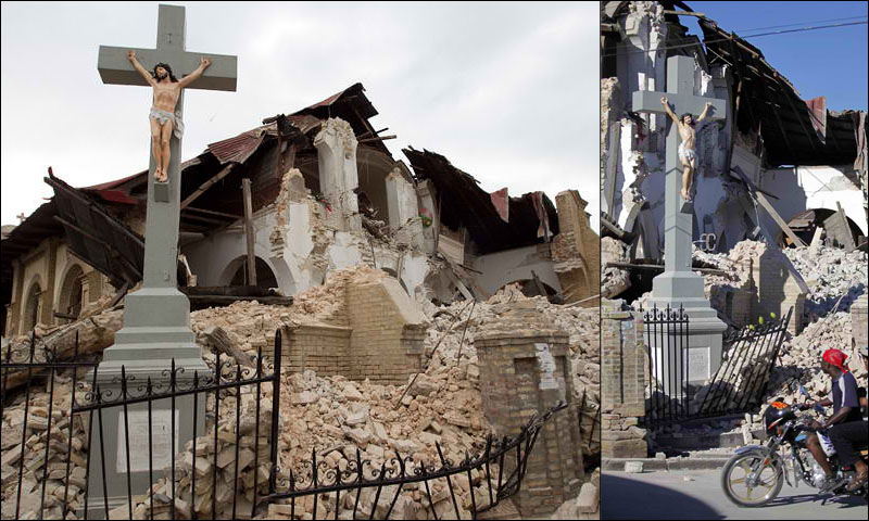 A Vatican II Church is destroyed in the 2008 Haiti earthquake. A Crucifix miraculously survives but the heretical INRI tag is knocked to the ground.