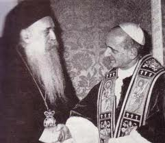 Freemason Antipope Paul VI shares a Masonic handshake with the leader of the Russian Orthodox Church