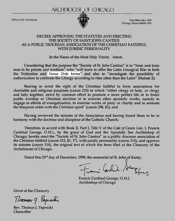 St John Cantius Novus Ordo Forms order from the Archdiocese of Chicago