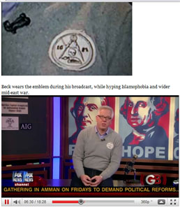 Fox News Host Glenn Beck shows off his Masonic association on television