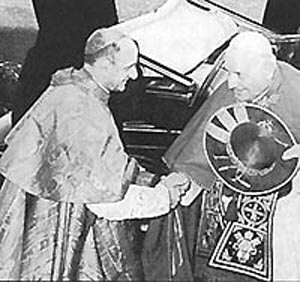 Anti-pope John XXIII (1958-1963) with Cardinal Montini who would become anti-pope Paul VI (1963-1978)