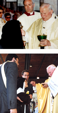 The fake Sister Lucy receiving 'communion' from Antipope John Paul II