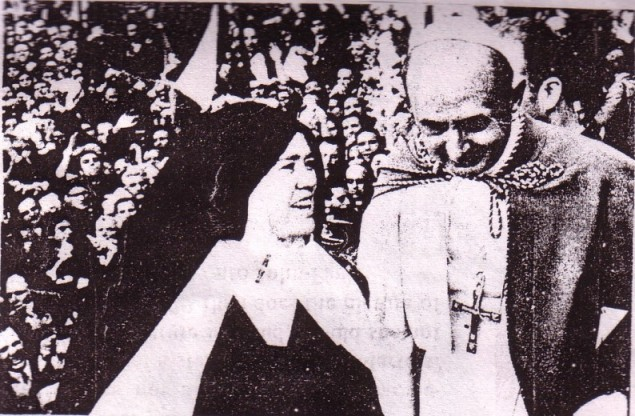 The fake Sister Lucy with co-conspirator and Antipope Paul VI (1963-1978)