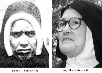 Serious expression photos of the real Sister Lucia and the impostor Sister Lucy