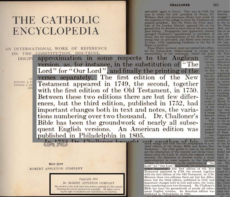 Catholic Encyclopedia - Challoner