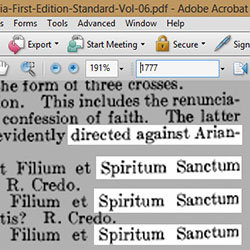The Original Catholic Encyclopedia documents the baptism rite of Catholics against Arianism, showing Spiritum Sanctum was used. The 'Lord'/Father/Patrem is a separate issue.