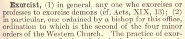 Exorcist Definition from the Catholic Encyclopedia