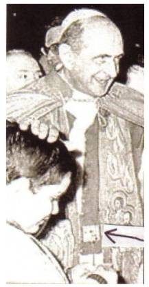Antipope Paul VI displays the Jewish ephod, a symbol of the 12 Tribes of Israel