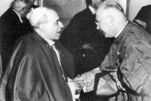 Freemason Pius XII and Freemason Cardinal Spellman exchange a Masonic handshake